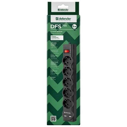 Сетевой фильтр Defender DFS 755 - 5,0 М, 2xUSB, 2.1A, 5 outlets, фото 2