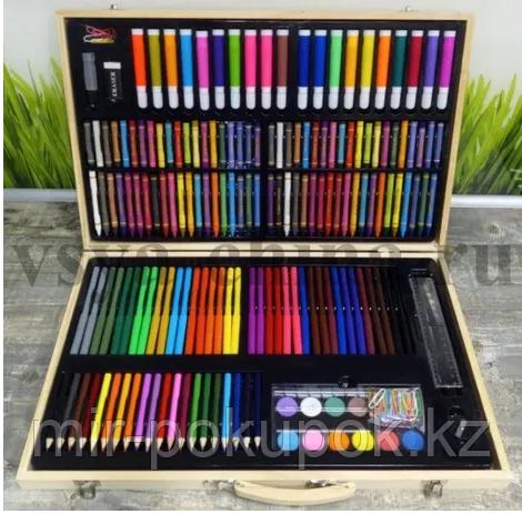 Набор для творчества (художественный) 220 предметов в деревянном кейсе