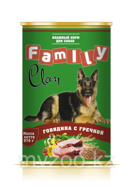 CLAN FAMILY влажный корм для собак всех пород Говядина с гречкой 970 гр