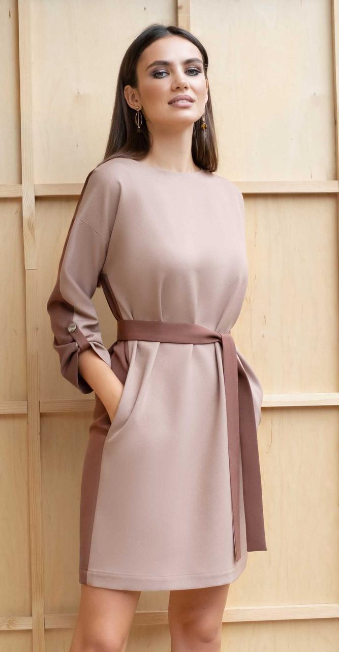 Платье Юрс-20-242-1, кэмел, 52