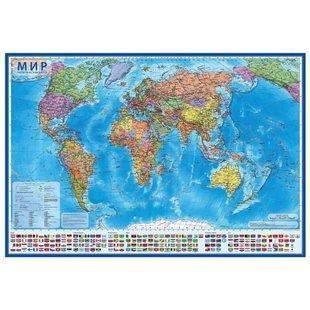 Карта мира Политическая, 1:35М, 101х66см, ламинированная настенная