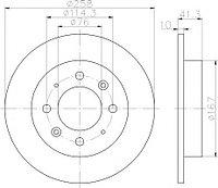 Тормозные диски Kia Cerato (04-..., задние, Optimal, D258-4d)