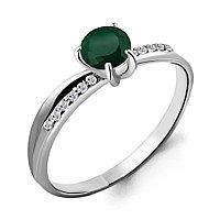 Серебряное кольцо с агатом зелёным AQUAMARINE (#712937)