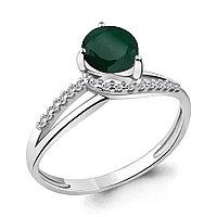 Серебряное кольцо с агатом зелёным AQUAMARINE (#697860)