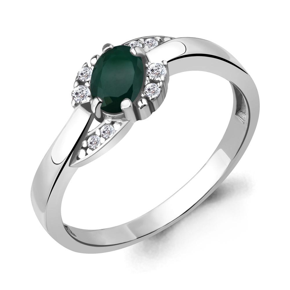 Серебряное кольцо с агатом зелёным AQUAMARINE (#709099)