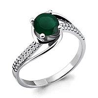 Серебряное кольцо с агатом зелёным AQUAMARINE (#698481)