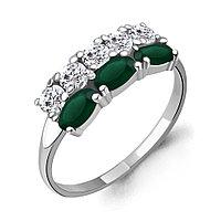Серебряное кольцо с агатом зелёным AQUAMARINE (#709071)