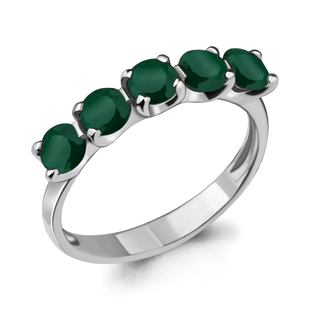 Серебряное кольцо с агатом зелёным AQUAMARINE (#703601)