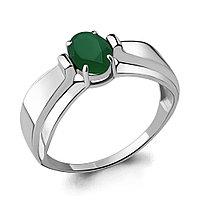 Серебряное кольцо с агатом зелёным AQUAMARINE (#709081)
