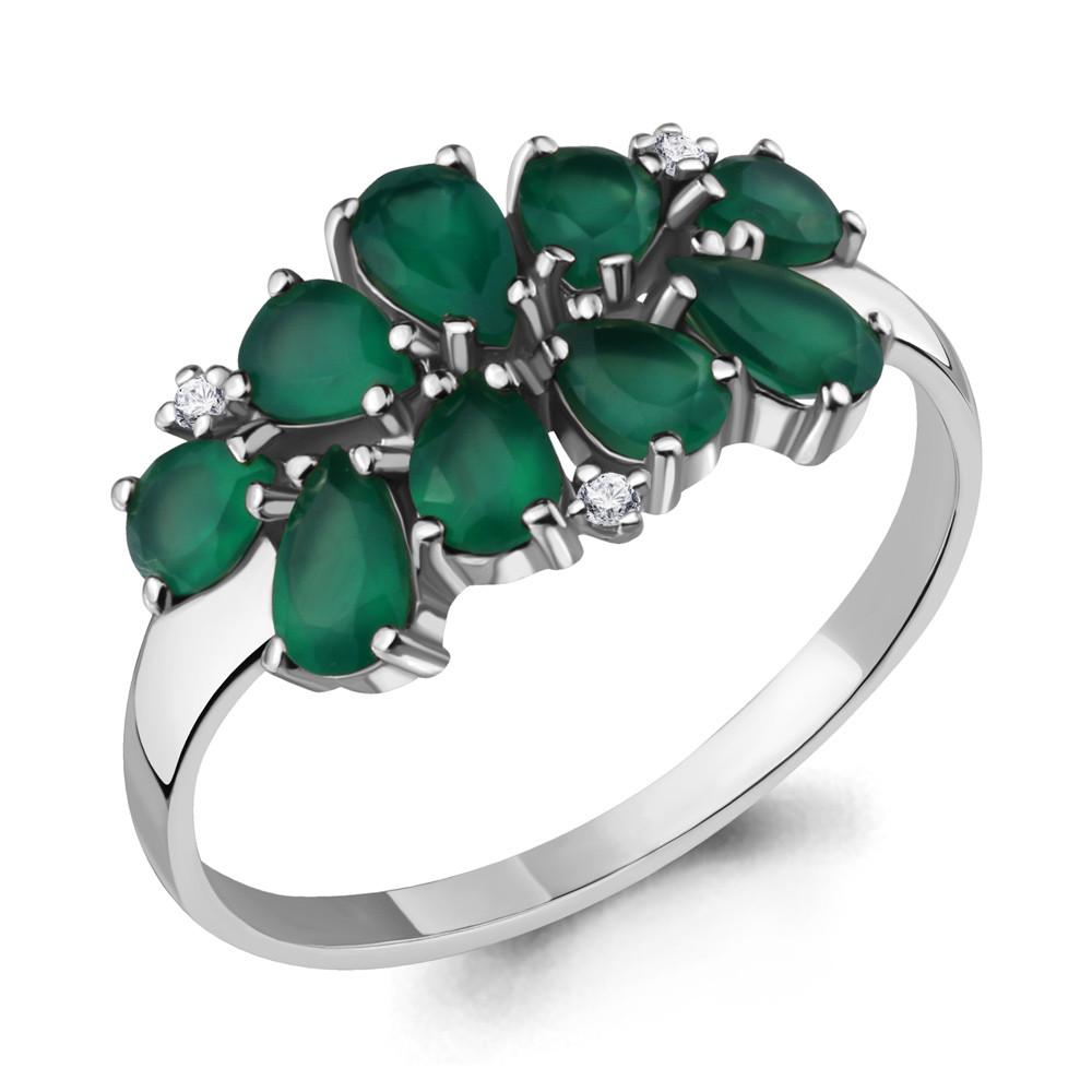 Серебряное кольцо с агатом зелёным AQUAMARINE (#712944)