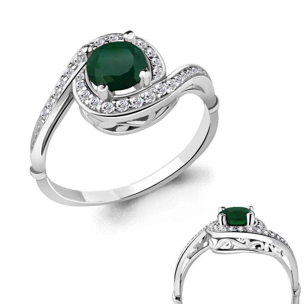 Серебряное кольцо с агатом зелёным и фианитом AQUAMARINE (#698478)