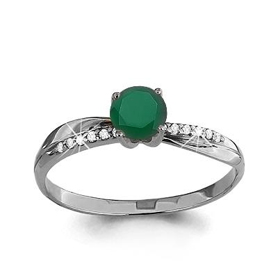 Серебряное кольцо с агатом зеленым AQUAMARINE (#409965)