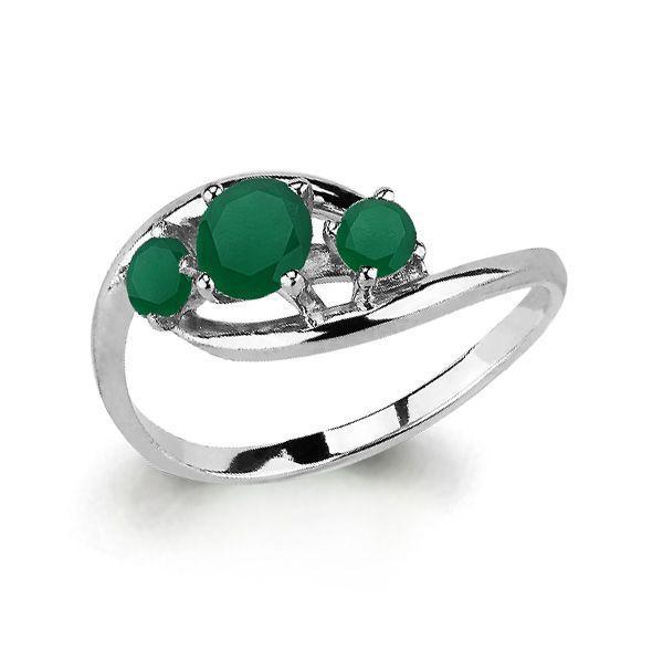 Серебряное кольцо с агатом зеленым AQUAMARINE (#697838)
