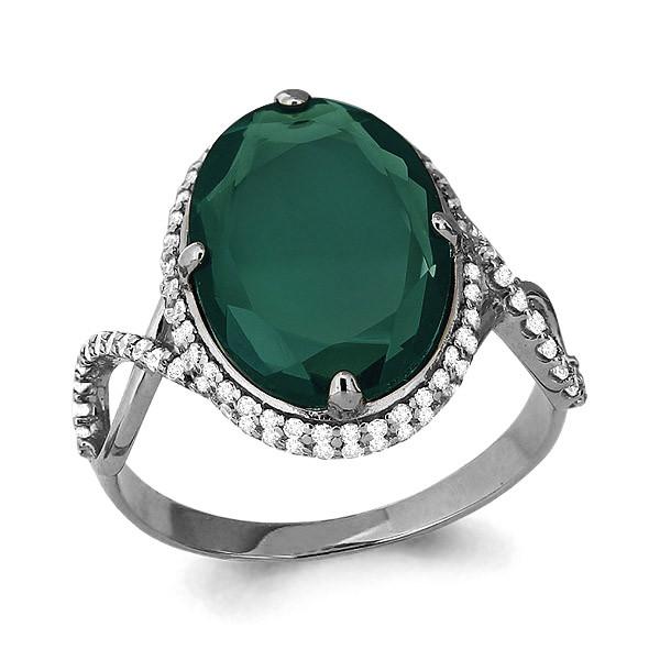 Серебряное кольцо с агатом зеленым и фианитом AQUAMARINE (#690055)