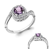 Серебряное кольцо с аметистом AQUAMARINE (#700149)