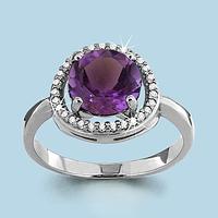 Серебряное кольцо с аметистом AQUAMARINE (#700143)