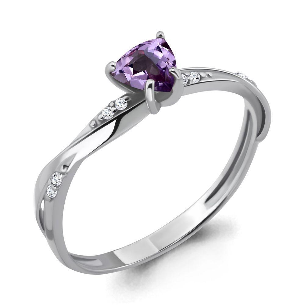 Серебряное кольцо с аметистом и фианитом AQUAMARINE (#697851)