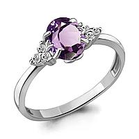 Серебряное кольцо с аметистом и фианитом AQUAMARINE (#700169)