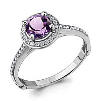 Серебряное кольцо с аметистом и фианитом AQUAMARINE (#700150)