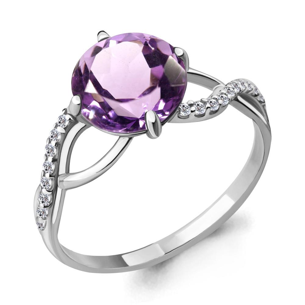 Серебряное кольцо с аметистом и фианитом AQUAMARINE (#687167)