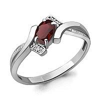 Серебряное кольцо с гранатом AQUAMARINE (#709100)