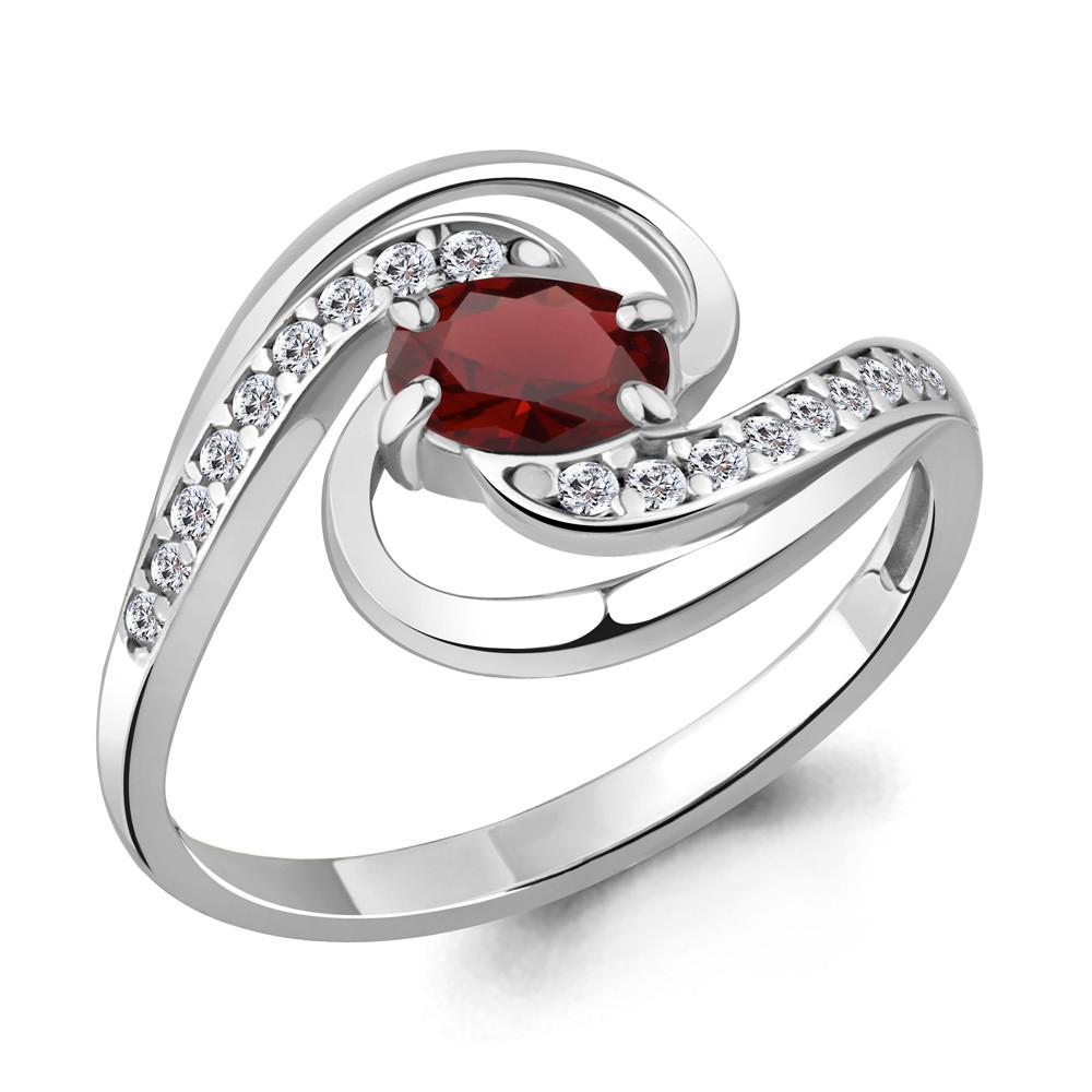 Серебряное кольцо с гранатом AQUAMARINE (#709101)