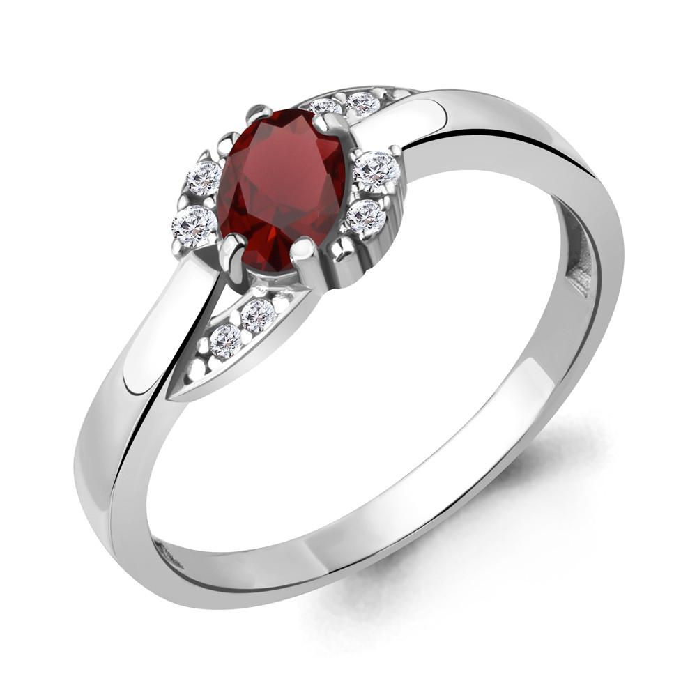Серебряное кольцо с гранатом AQUAMARINE (#709098)