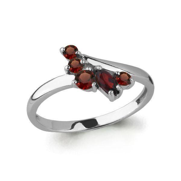 Серебряное кольцо с гранатом AQUAMARINE (#697738)