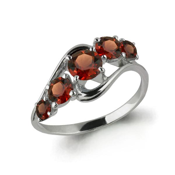 Серебряное кольцо с гранатом AQUAMARINE (#607192)