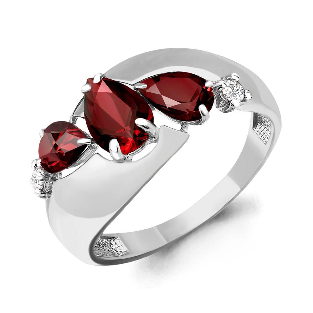 Серебряное кольцо с гранатом AQUAMARINE (#698382)
