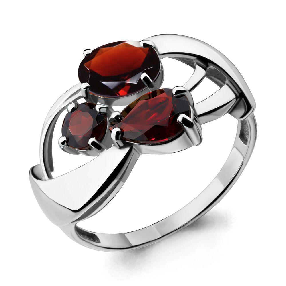 Серебряное кольцо с гранатом AQUAMARINE (#697866)