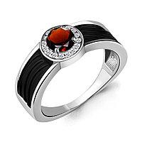 Серебряное кольцо с гранатом AQUAMARINE (#700280)