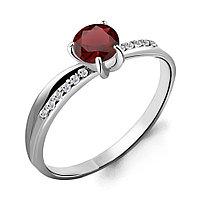 Серебряное кольцо с гранатом и фианитом AQUAMARINE (#697841)