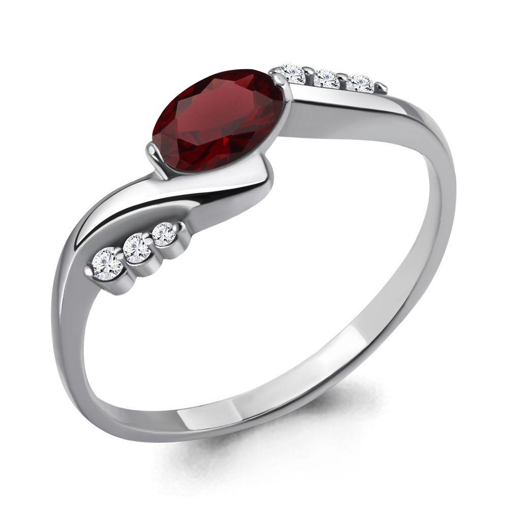 Серебряное кольцо с гранатом и фианитом AQUAMARINE (#697117)