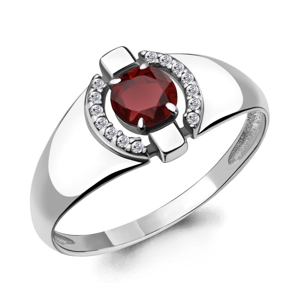 Серебряное кольцо с гранатом и фианитом AQUAMARINE (#700155)