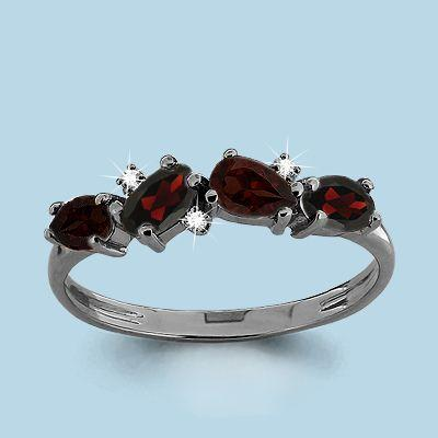 Серебряное кольцо с гранатом и фианитом AQUAMARINE (#697854) 17