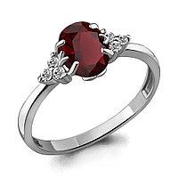 Серебряное кольцо с гранатом и фианитом AQUAMARINE (#410006)