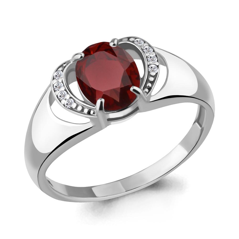 Серебряное кольцо с гранатом и фианитом AQUAMARINE (#706522)