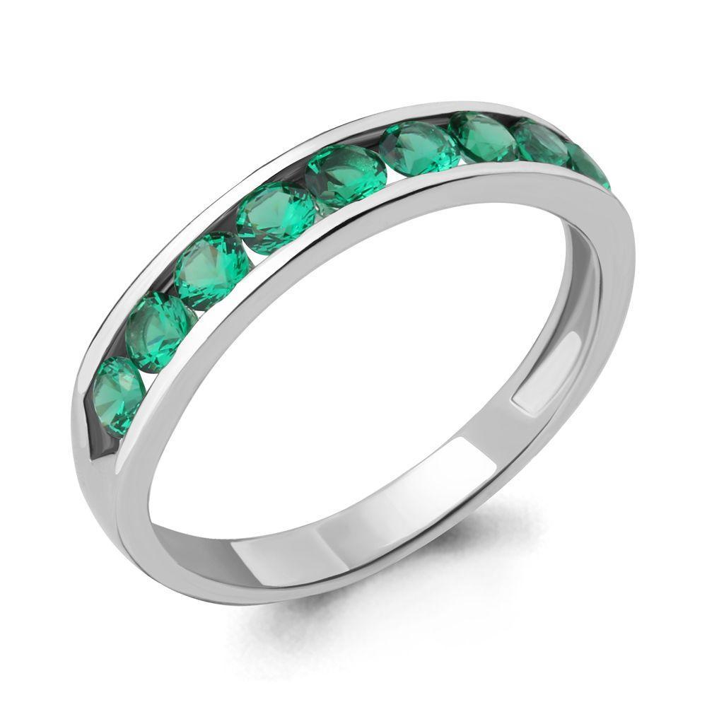 Серебряное кольцо с изумрудом гидротермальным и нано-изумрудом AQUAMARINE (#606678)