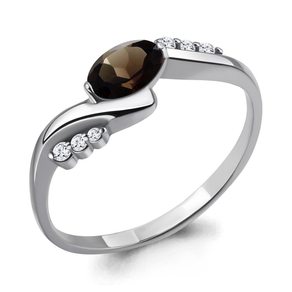 Серебряное кольцо с кварцем дымчатым и кварцем AQUAMARINE (#698467)
