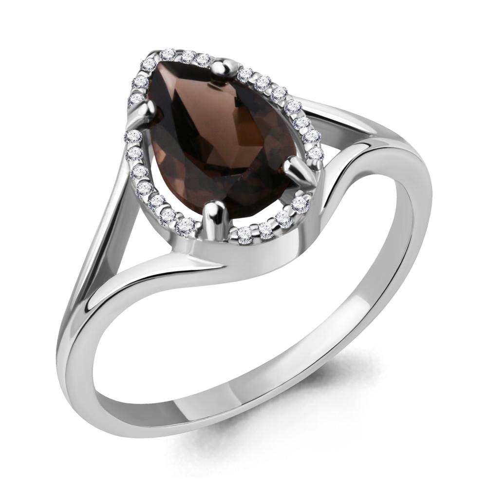 Серебряное кольцо с кварцем дымчатым и фианитом AQUAMARINE (#709072)
