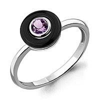 Серебряное кольцо с керамикой и аметистом AQUAMARINE (#700270)