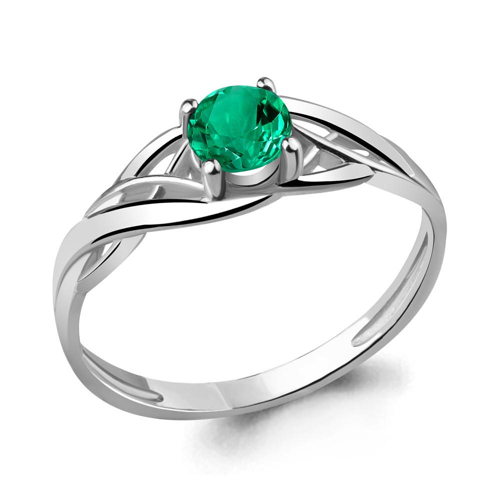 Серебряное кольцо с нано-изумрудом AQUAMARINE (#409856)