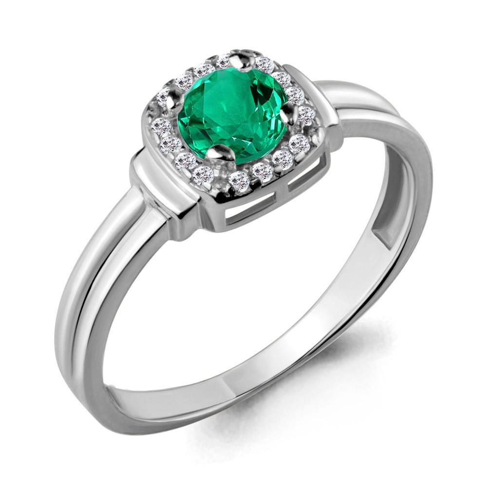 Серебряное кольцо с нано-изумрудом AQUAMARINE (#704578)