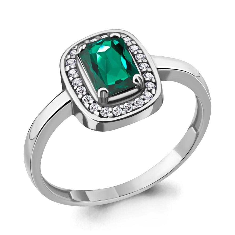 Серебряное кольцо с нано-изумрудом AQUAMARINE (#712383)