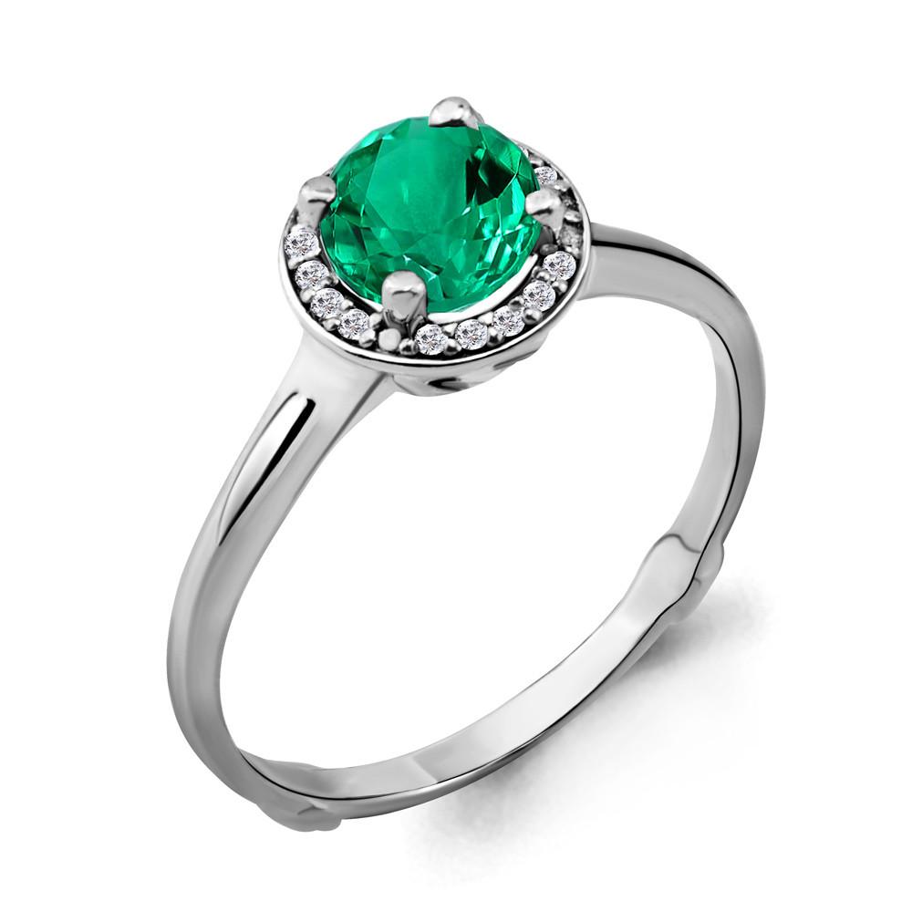 Серебряное кольцо с нано-изумрудом  AQUAMARINE (#703835)