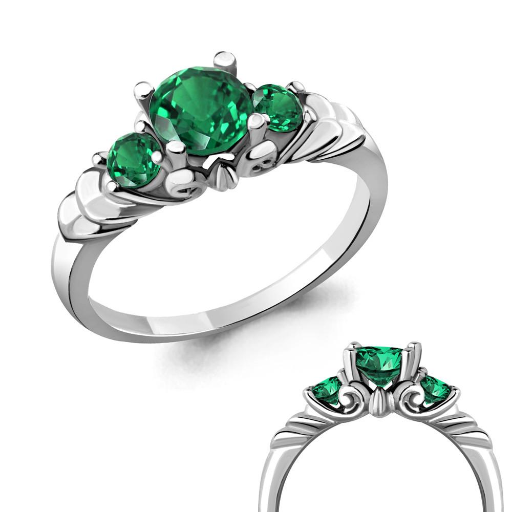 Серебряное кольцо с нано-изумрудом AQUAMARINE (#619701)