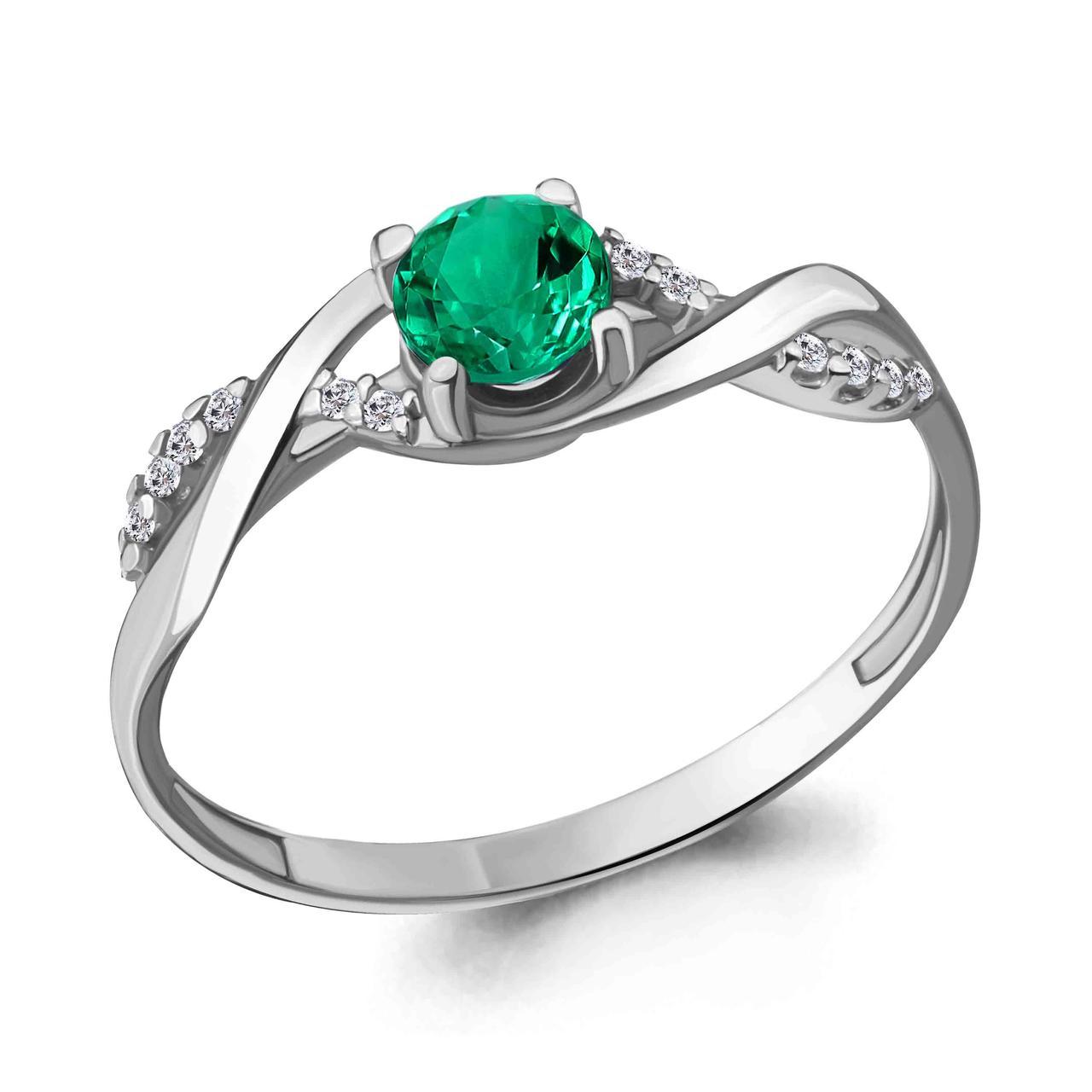 Серебряное кольцо с нано-изумрудом и изумрудом гидротермальным AQUAMARINE (#409858)