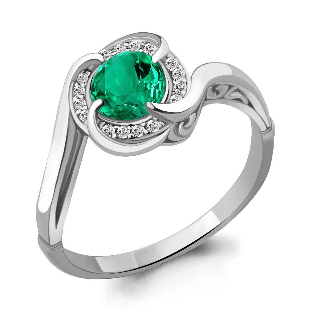 Серебряное кольцо с нано-изумрудом и фианитом AQUAMARINE (#708491)