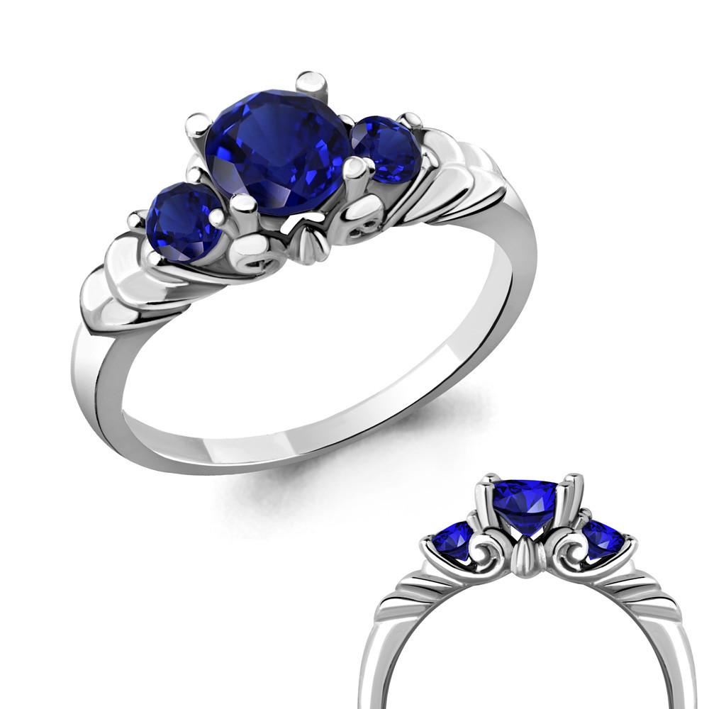 Серебряное кольцо с нано-сапфиром AQUAMARINE (#485126)